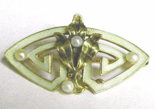 WHITESIDE & BLANK? Enameled Gold Pin with Pearls