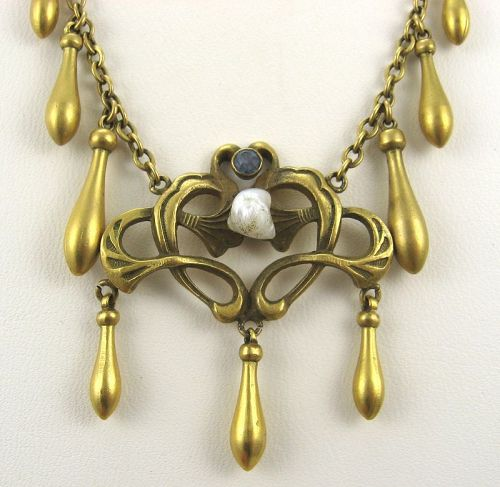 Etruscan Revival Fringe Necklace with Lilypad Motif