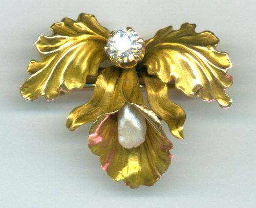 Diamond Pearl Orchid Pin