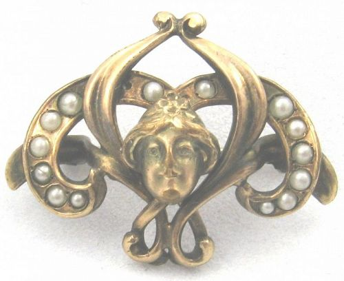 Lady or Girl Pin with Seed Pearls on Ribbons of Gold