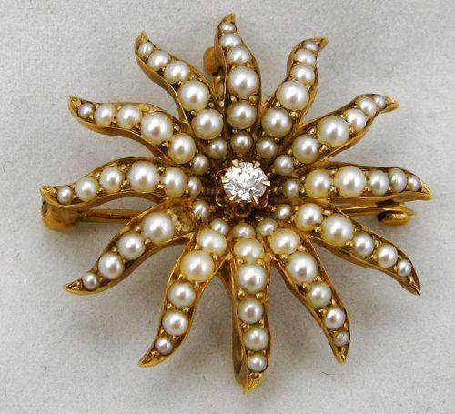 Starburst Brooch/Necklace � Diamond & Pearls in a Velvet Box