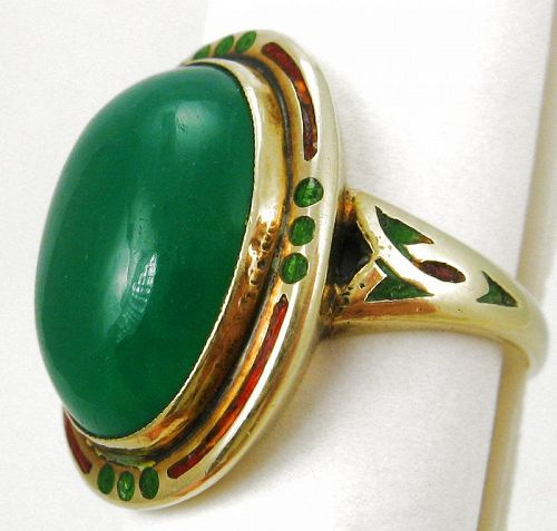 Green Chalcedony Enamel 14k Ring