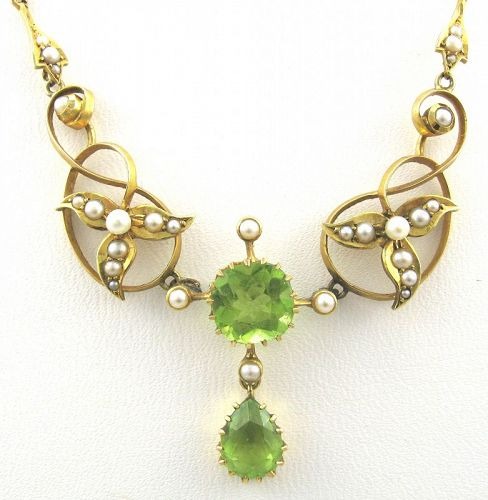 Peridot and Seed Pearls 14kt Gold Necklace