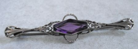 Edwardian White Gold and Amethyst Pin