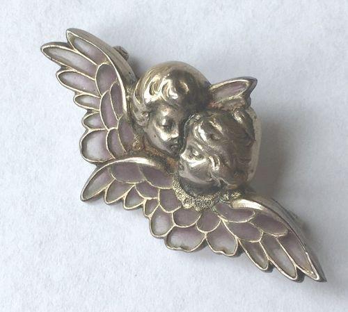 Adorable Cupids with Plique a Jour Enamel Wings