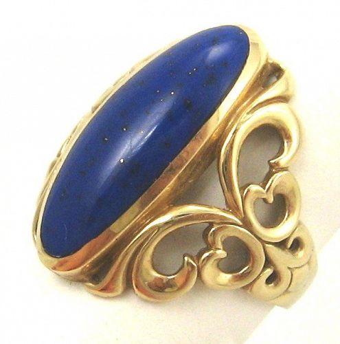Royal Blue Lapis Lazuli 14kt Gold Ring