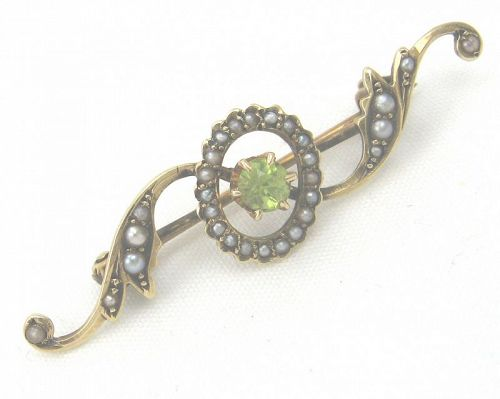 Peridot and Seed Pearl 14kt Gold Brooch or Pin