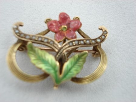 Enamel Flower Watch Pin