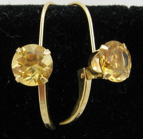 Bright Citrine Earrings in 14kt Gold
