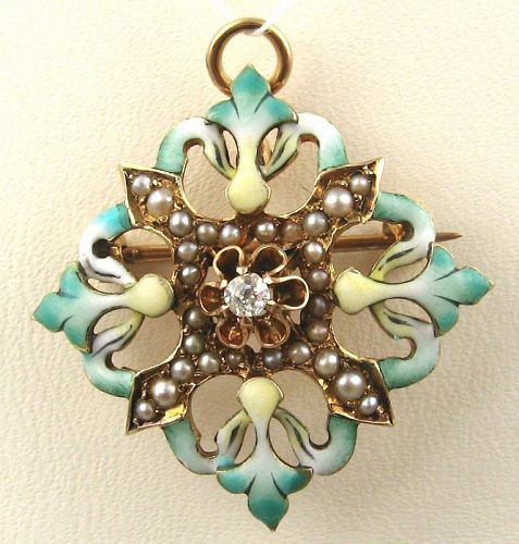 Diamond Enamel Brooch/Pendant - 14kt Rose Gold