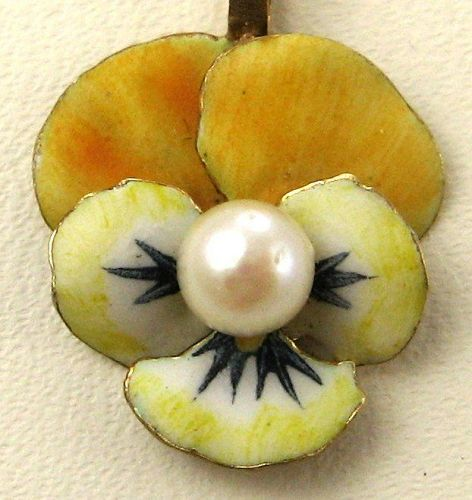 Enameled Pansy Pendant with Chain