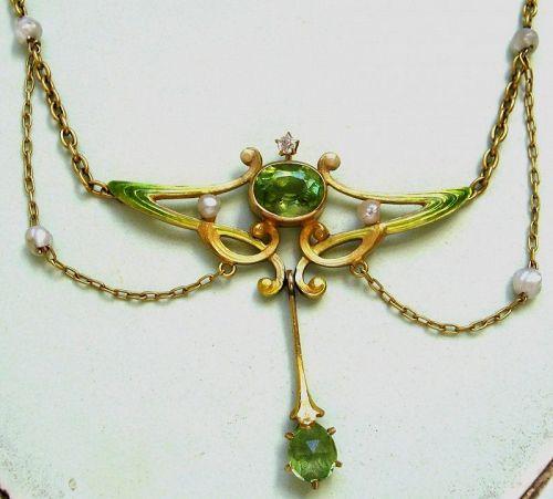 Peridot Enamel Garland Necklace – Book Piece