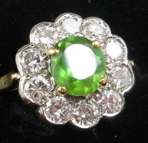 Diamonds & Demantoid (Green) Garnet Ring
