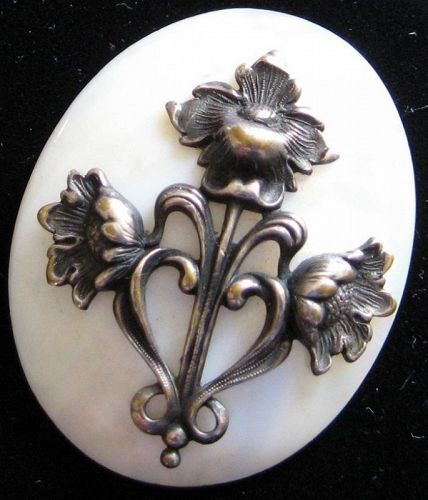 Silver Poppies on Mother of Pearl Brooch