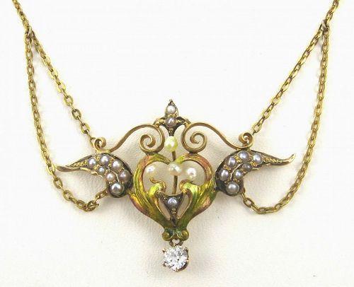 Diamond Enamel Pearl Winged-Heart Necklace 14kt