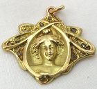 Diamond-Set Art Nouveau Lady - Pendant