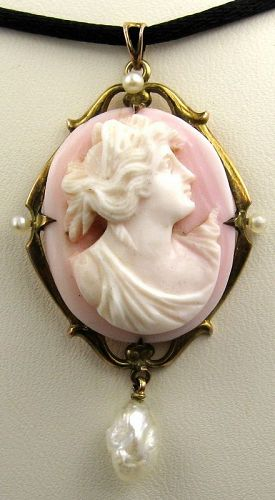 Elegant Lady in Palest Pink Cameo