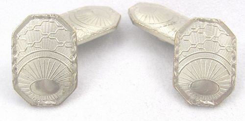 BELAIS Sunrise Motif Double Cuff Links � �White Gold Fronts�