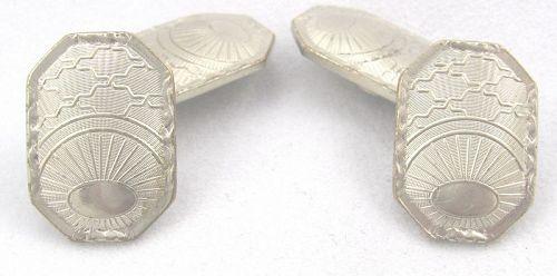 "BELAIS Sunrise Motif Double Cuff Links – ""White Gold Fronts"""