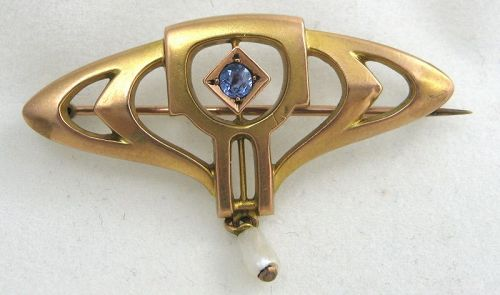 Blue Sapphire Pin by HERMANN & SPECK