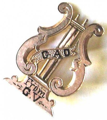 Lyre Brooch - 14kt Rose Gold with Enamel
