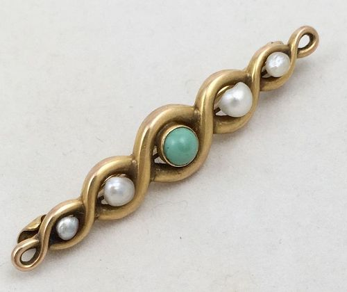 Gold Turquoise & Pearl Bar Pin by BIPPART GRISCOMB & OSBORN