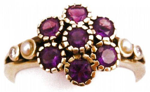 Amethyst & Diamonds Flower Ring