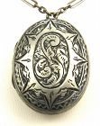 White Metal Locket with Paperclip Chain