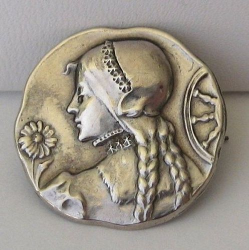 St. Catherine or ? - Silver Brooch or Pin