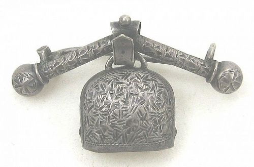 Engraved Silver Bell Brooch - Russia