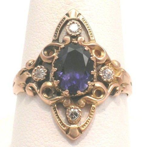 Iolite & Diamond Ring – Victorian Revival - Gothic
