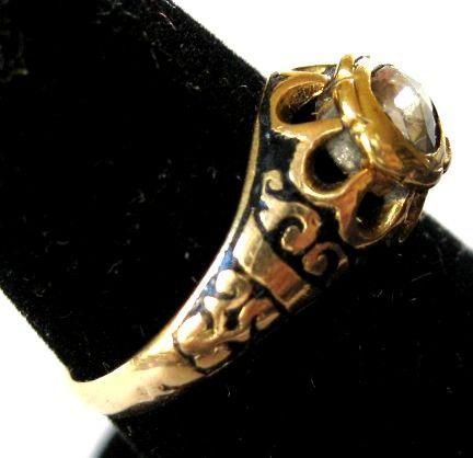 Diamond Enamel Gold Ring - Georgian