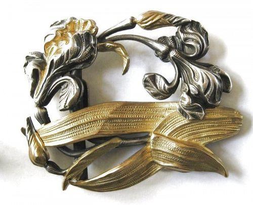 Gold & Silver Plate Iris Sash Buckle