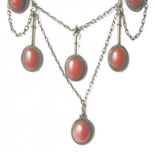 Ox Blood Coral Silver Jugendstil (Arts & Crafts) Necklace