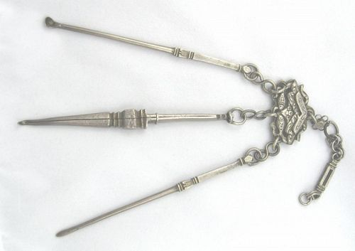 Silver Grooming Chatalaine with Chinese Motif