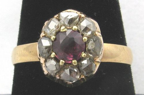 Ruby and Diamond Ring Georgian or Early Victorian