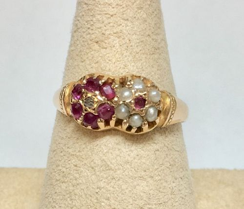 Ruby & Pearl Ring - 15kt Gold – England 1877