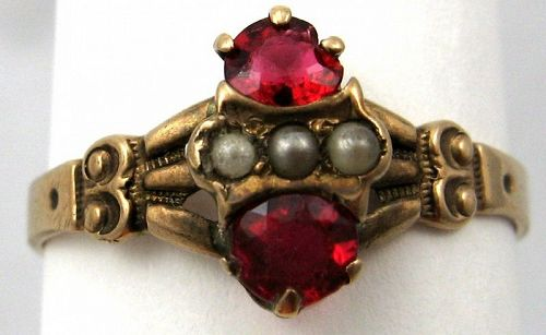 Rose Gold & Red Stone Ring – Very Victorian
