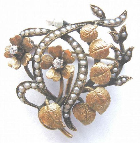 Diamonds & Seed Pearl 14kt Flower and Leaf Brooch