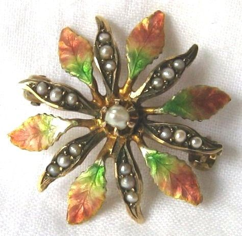 Enameled Flower Pin with Pearls by Klitz