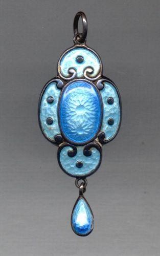 Antique Blue Polychrome Enamel Pendant