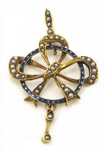 15kt Gold Blue Enamel Bow Pendant - English