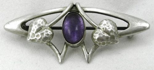 Arts & Crafts/Art Nouveau Purple Stone Pin