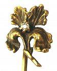 Diamond Iris Stick Pin - 10k Gold