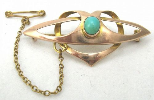 Rose Gold Turquoise Brooch – Celtic Interlace