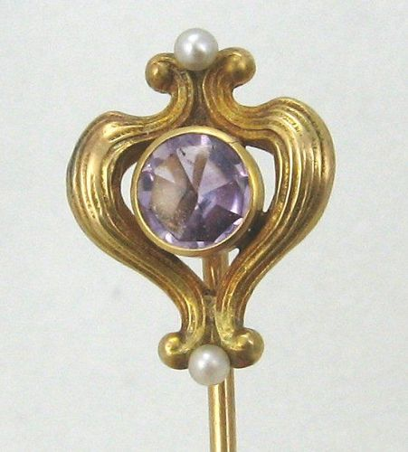 14kt Gold Amethyst Art Nouveau Stick Pin
