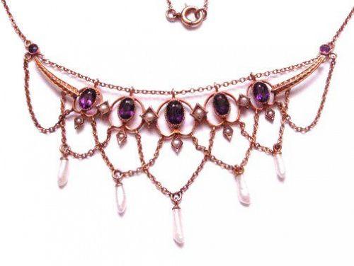 Amethyst Garland or Festoon 14kt Necklace