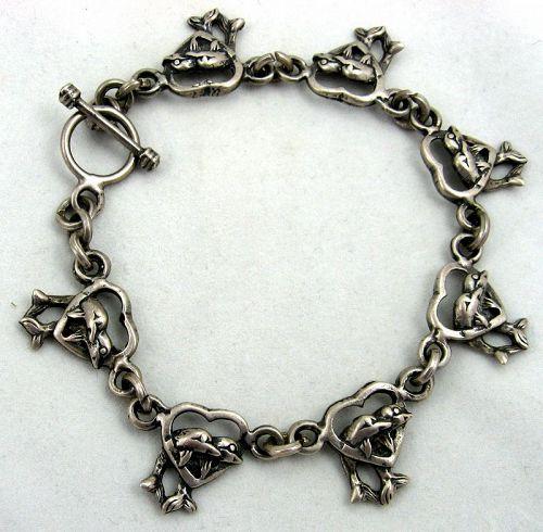 Romantic Hearts & Dolphins Bracelet