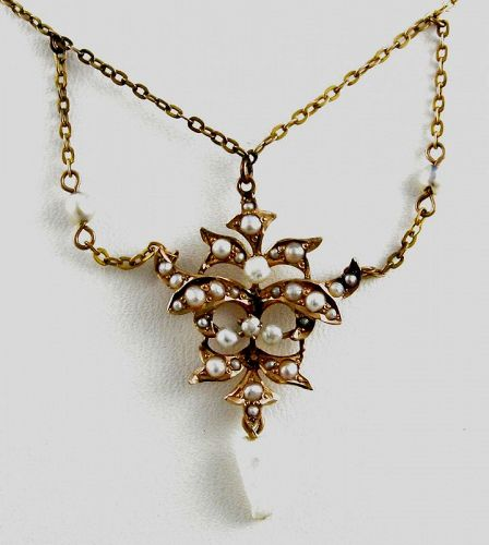 Festoon Necklace-Seed Pearls in 10kt Gold
