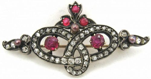 Diamonds, Rubies, Pearls in a Silver-Topped Gold Love Knot